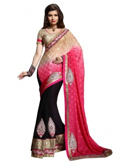 Diwali Special Multicolor Embroidered Georgette Fancy Saree-10012(ST-PANIHARI)