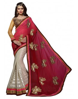 Diwali Special Pink & White Embroidered Georgette Fancy Saree-10002(ST-PANIHARI)