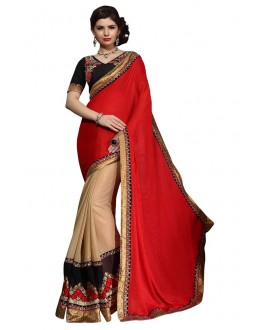 Diwali Special Red & Beige Embroidered Georgette Fancy Saree-10010(ST-PANIHARI)