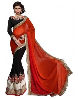 Diwali Special Red & Black Embroidered Georgette & Crush Fancy Saree-10008(ST-PANIHARI)