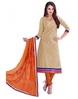 Designer Beige & Orange Straight Unstitched Churidar Suit-KRC108(ST-ROYAL CLUB)