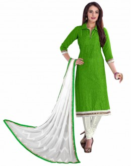 Designer Green & White Straight Unstitched Churidar Suit-KRC107(ST-ROYAL CLUB)