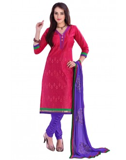 Designer Pink & Purple Straight Unstitched Churidar Suit-KRC103(ST-ROYAL CLUB)