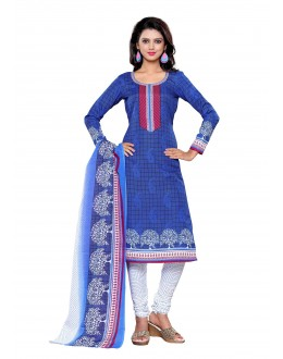 Semi Cotton Blue Churidar Suit Dress Material - ROYAL VOLUME-11028