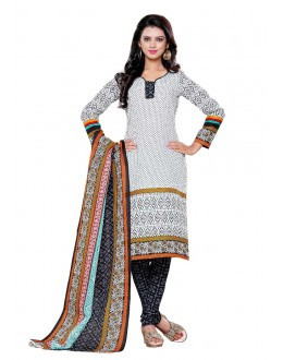 Semi Cotton White Churidar Suit Dress Material - ROYAL VOLUME-11030