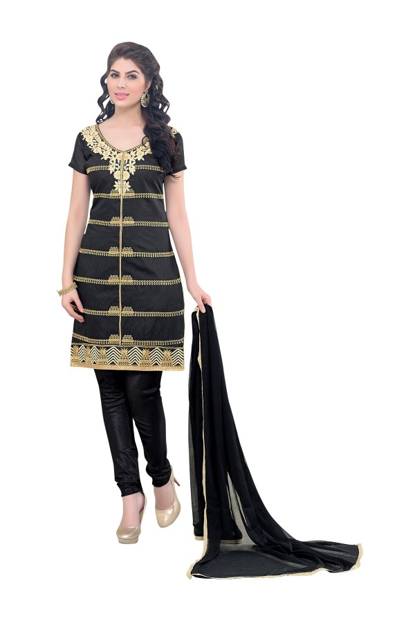 Party Wear Chanderi Black Churidar Suit - SAHIDA 44007