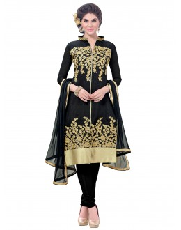 Party Wear Chanderi Black Churidar Suit - SAHIDA 44011