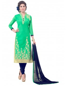 Party Wear Chanderi Green Churidar Suit - SAHIDA 44009