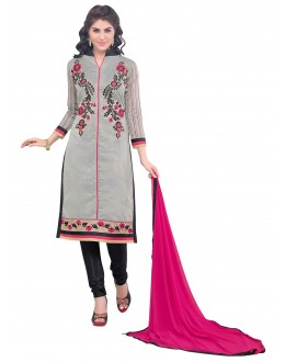 Party Wear Chanderi Grey Churidar Suit - SAHIDA 44004