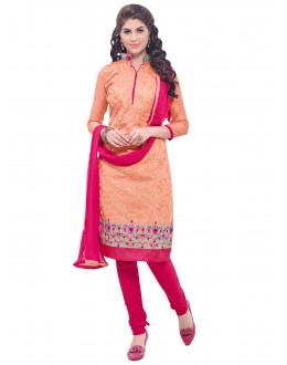 Party Wear Chanderi Peach Churidar Suit - SAHIDA 44012
