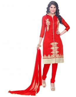 Party Wear Chanderi Red Churidar Suit - SAHIDA 44008