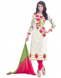 Party Wear Chanderi White Churidar Suit - SAHIDA 44002