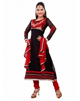 Designer Black & Red Georgette Embroidered Unstitched Churidar Suit-1002(ST- SHYRANA)