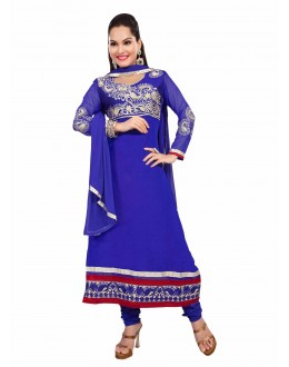 Designer Blue Georgette Embroidered Unstitched Churidar Suit-1004(ST- SHYRANA)