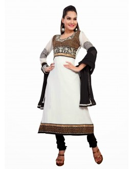 Designer White & Black Georgette Embroidered Unstitched Churidar Suit-1003(ST- SHYRANA)