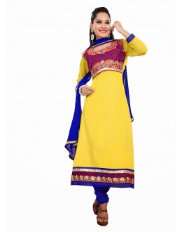 Designer Yellow & Blue Georgette Embroidered Unstitched Churidar Suit-1001(ST- SHYRANA)
