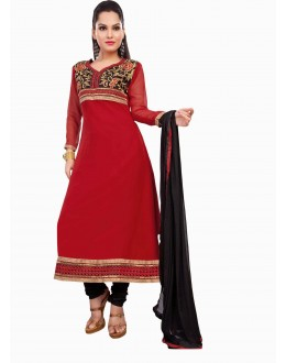 St-Designer Red & Black Georgette Embroidered Unstitched Churidar Suit-1005(ST- SHYRANA)