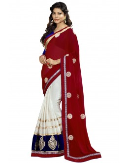 Designer Party Wear White & Maroon Saree-1718C