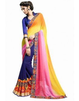 Designer Multicolor Embroidered Georgette Saree - 2901 ( ST-SIGNATURE-3 )