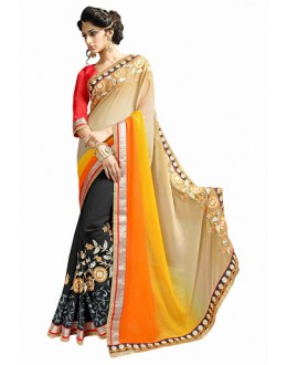 Designer Multicolor Embroidered Georgette Saree - 2913 ( ST-SIGNATURE-3 )