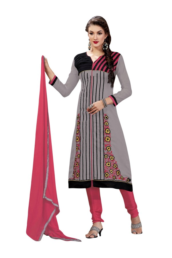 Chanderi Cotton Grey & Black Churidar Suit - VINTAGE6303