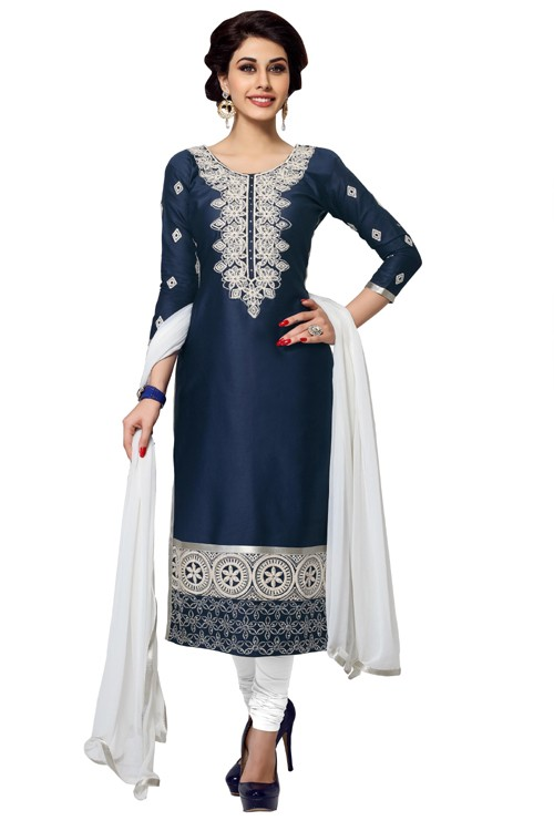 Eid Special  Blue Cambric Cotton Churidar Suit - 1056