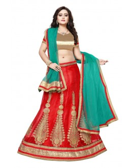 Red Colour Net Embroidery Lehenga Choli - SAI NX5104