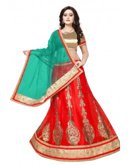 Traditional Red Net Lehenga Choli - SAI NX5105