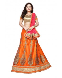 Net Orange Colour Embroidery Lehenga Choli - SAI NX5108