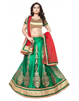 Green Colour Net Ethnic Lehenga Choli - SAI NX5110