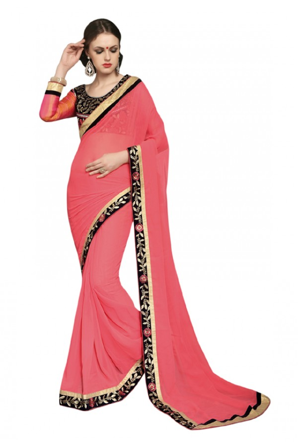 Festival Wear Pink & Black Georgette Saree  - SAKSHI2