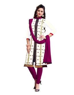 Eid Special White Cotton Chanderi Churidar Suit -  2ASG5103B