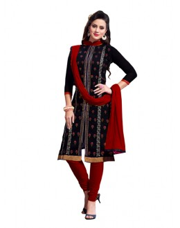 Eid Special Black Cotton Chanderi Churidar Suit -  2ASG5103C