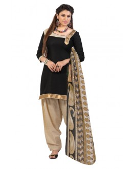 Casual Wear Black Un-Stitched Patiala Suit - SUP1006
