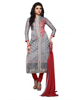 Eid Specialel Gray CHANDERI COTTON Churidar Suit - 1101