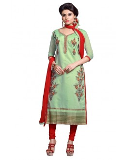 Eid Specialel Light Green CHANDERI COTTON Churidar Suit - 1105