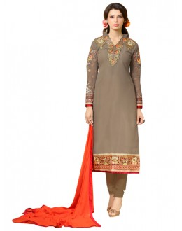 Eid Special Brown Georgette Churidar Suit -  SNS1005