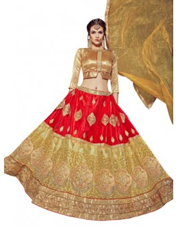 Wedding Wear Red & Golden Lehenga Choli - VICTORIA-8102
