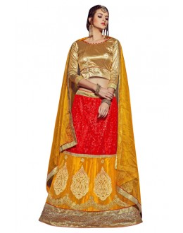 Traditional Red & Mustard Net Lehenga Choli - VICTORIA-8104