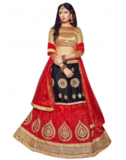 Festival Wear Black & Red Net Lehenga Choli - VICTORIA-8105