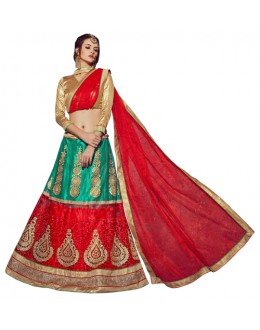 Wedding Wear Green & Red Lehenga Choli - VICTORIA-8107