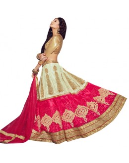 Wedding Wear Cream & Pink Lehenga Choli - VICTORIA-8108