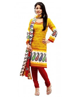 Party Wear Yellow Un-Stitched Churidar Suit -  WLC2002