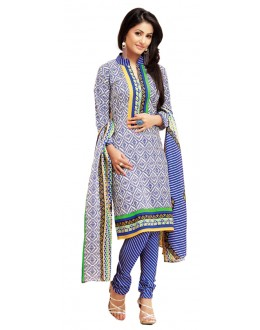 Party Wear Blue Un-Stitched Churidar Suit -  WLC2003