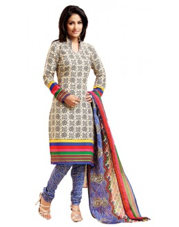 Party Wear Cream Un-Stitched Churidar Suit -  WLC2005