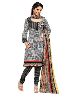 Party Wear Black Un-Stitched Churidar Suit -  WLC2008