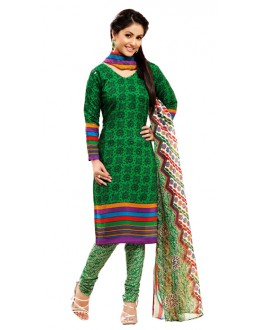 Party Wear Dark Green Un-Stitched Churidar Suit -  WLC2015