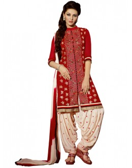 Party Wear Red Georgette Patiala Suit - ZPH4651