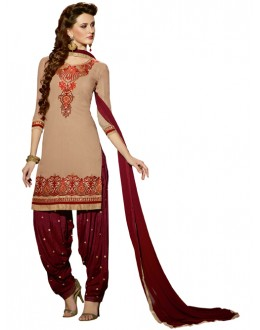 Party Wear Beige Georgette Patiala Suit - ZPH4654