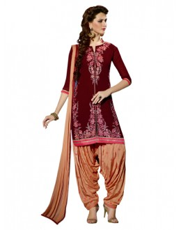 Party Wear Maroon Georgette Patiala Suit - ZPH4655